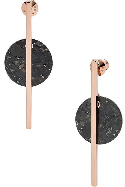Skagen Luxusné oceľové náušnice s čiernym mramorom SKJ1375791
