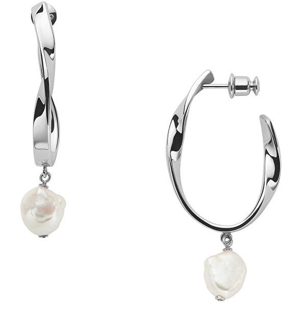 Skagen Luxusné oceľové náušnice s pravými perlami Agnetha SKJ1396040
