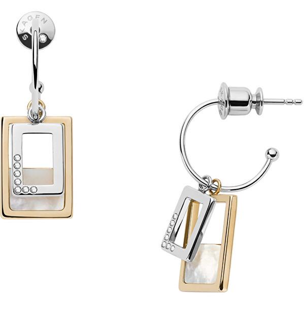 Skagen Nadčasové oceľové náušnice s perleťou a kryštály 2v1 Agnetha SKJ1427998