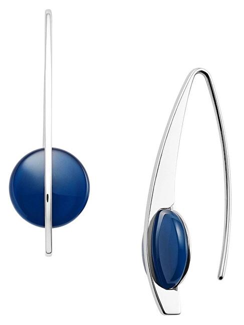 Skagen Oceľové náušnice s modrým sklom SKJ1293040