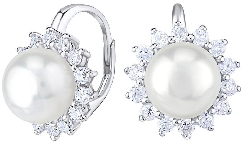 Silvego Krásne strieborné náušnice s pravou bielou perlou LPS0156A