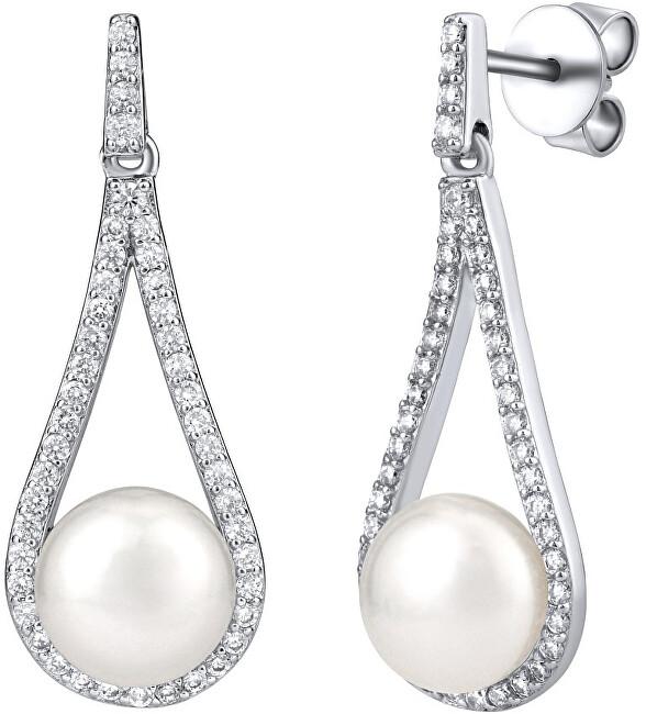 Silvego Luxusné strieborné náušnice s pravou bielou perlou LPSGRP19233W