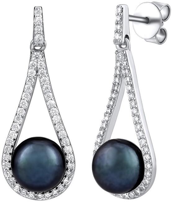 Silvego Luxusné strieborné náušnice s pravou čiernou perlou LPSGRP19233B