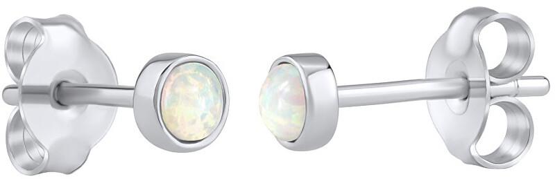 Silvego Strieborné náušnice kôstky s bielym syntetickým opál LPS0933W
