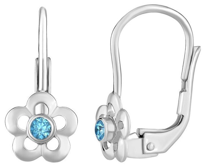Silvego Strieborné náušnice nezábudky s prírodným modrým topazom Swarovski ® Gemstones SILVEGOB70164B
