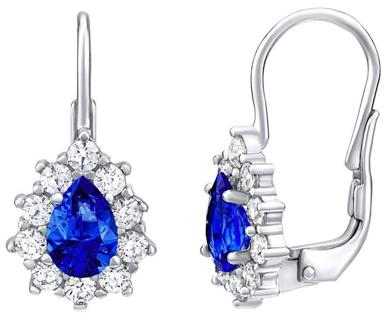 Silvego Strieborné náušnice s modrým kameňom Swarovski ® Created Stones SILVEGO31866D