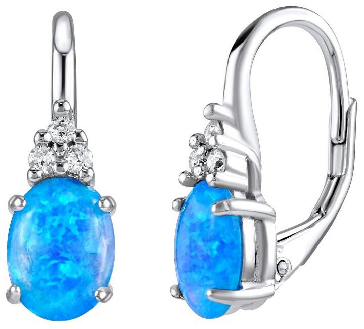 Silvego Strieborné náušnice s modrým syntetickým opál Olivia LPS1508M