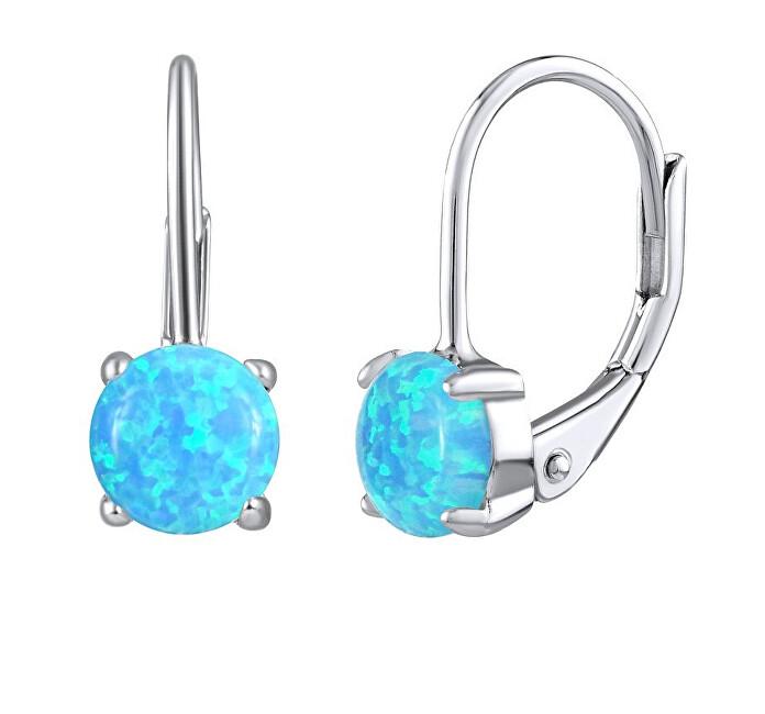 Silvego Strieborné náušnice s modrým syntetickým opál LPS1398M