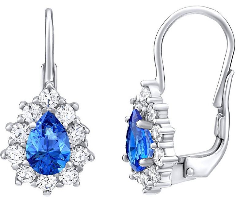 Silvego Strieborné náušnice s modrými Swarovski ® zirkónmi SILVEGO31866M