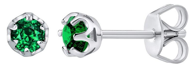 Silvego Strieborné náušnice s pravým zeleným TOPAZ Swarovski JJJ1032GSW