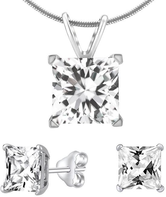 Silvego Stříbrný set šperků s čirým křišťálem JJJSQ55 (náušnice, přívěsek)