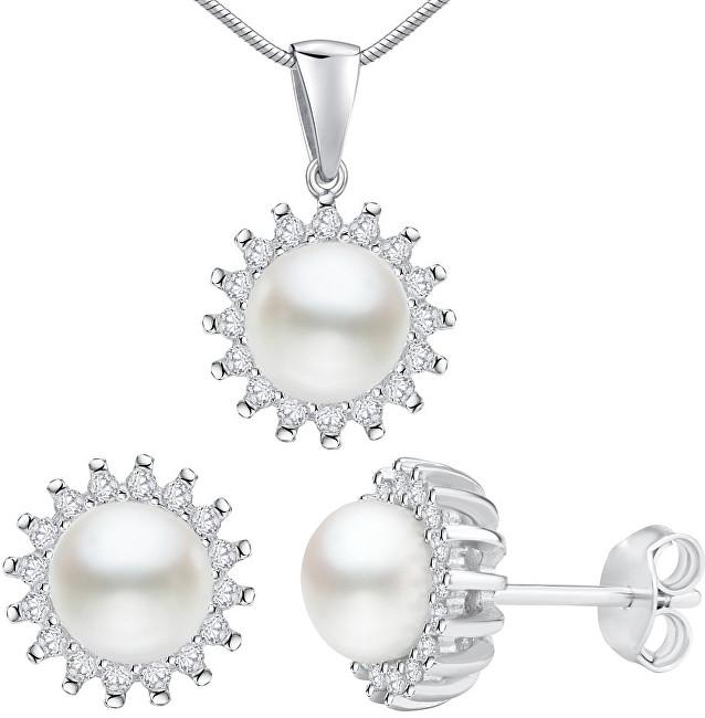 Silvego Strieborný set VERA s pravou perlou LPS1166 (náušnice, prívesok)