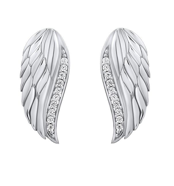 Silvego Trblietavé strieborné náušnice Anjelské krídla sa zirkónmi Lasha FW10187E