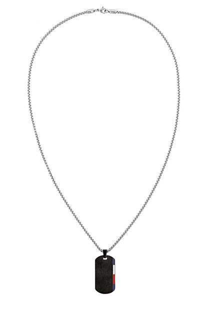 Tommy Hilfiger Čierny oceľový náhrdelník s príveskom v tvare psej známky 2790249