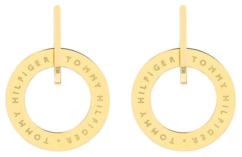 Tommy Hilfiger Pozlátené oceľové náušnice kruhy TH2780318