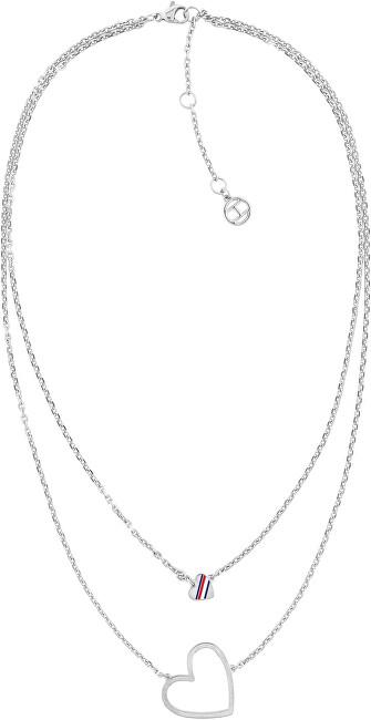 Tommy Hilfiger Romantický dvojitý oceľový náhrdelník Srdce TH2780400