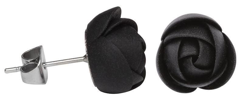 Troli Černé náušnice puzetky menší kytičky