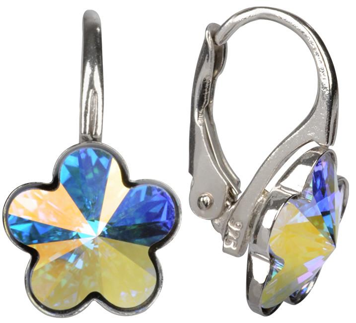 Troli Dievčenské strieborné náušnice Flower Crystal AB