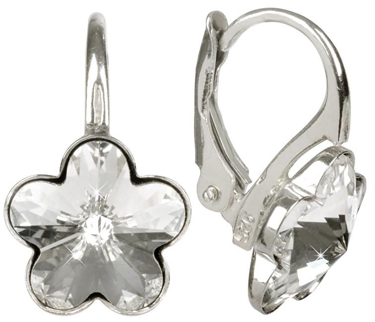 Troli náušnice Dívčí strieborné Flower Crystal E474410KLAgRHCrystal