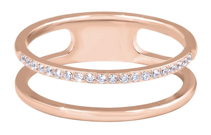 Troli Dvojitý minimalistický prsteň z ocele Rose Gold 50 mm