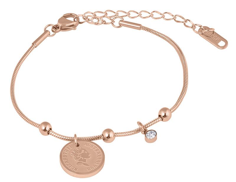 Troli Elegantní ocelový náramek Coin Rose Gold