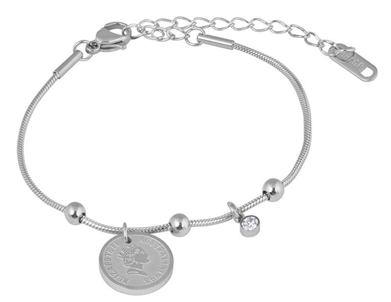 Troli Elegantní ocelový náramek Coin Silver