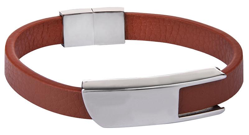 Troli Hnedý kožený náramok s oceľovou sponou Leather