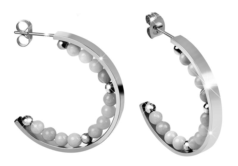 Troli Oceľové náušnice kruhy s perličkami