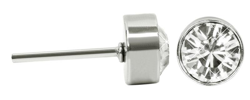 Troli Oceľové náušnice kôstky Chaton Crystal E108831PUSS Crystal