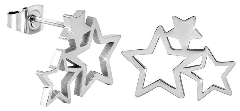 Troli Oceľové náušnice s tromi hviezdičkami