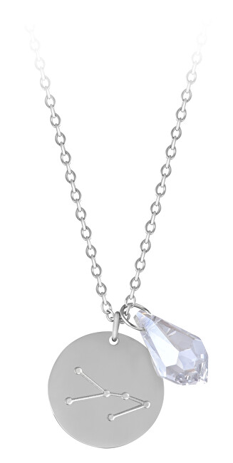 Troli Oceľový náhrdelník Býk sa zirkónom (retiazka, 2x prívesok)