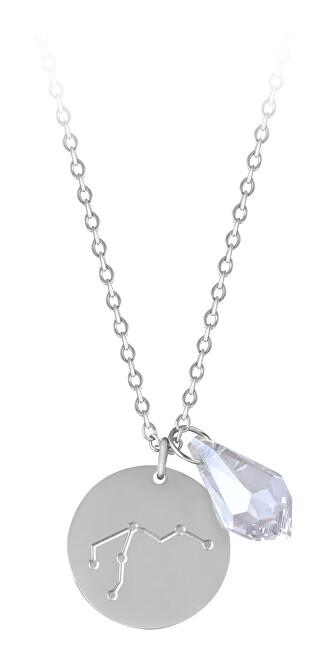 Troli Oceľový náhrdelník Vodnár sa zirkónom (retiazka, 2x prívesok)