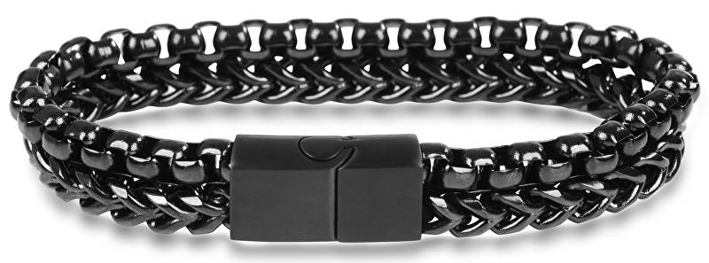 Troli Pánský černý ocelový náramek