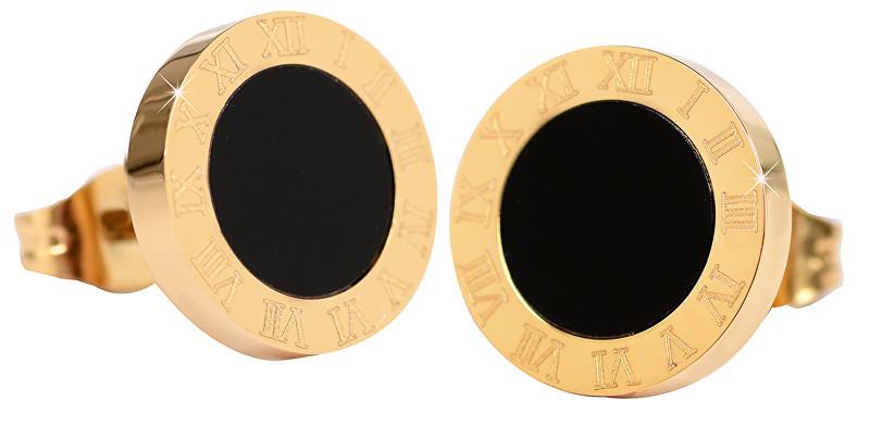Troli Pozlátené oceľové náušnice s čiernym stredom KE-015