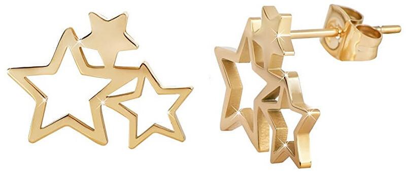 Troli Pozlátené oceľové náušnice s tromi hviezdičkami