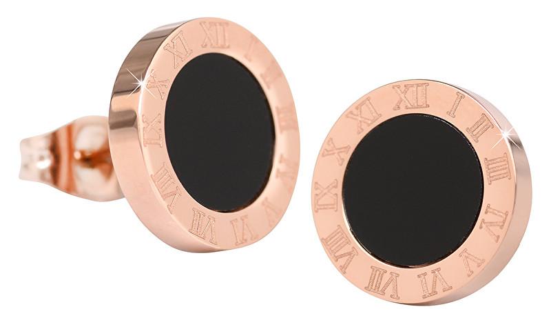 Troli Růžově pozlacené ocelové náušnice s černým středem KE-015