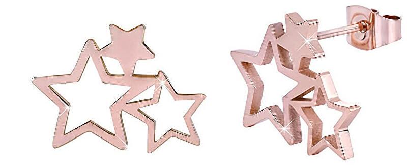 Troli Ružovo pozlátené oceľové náušnice s tromi hviezdičkami