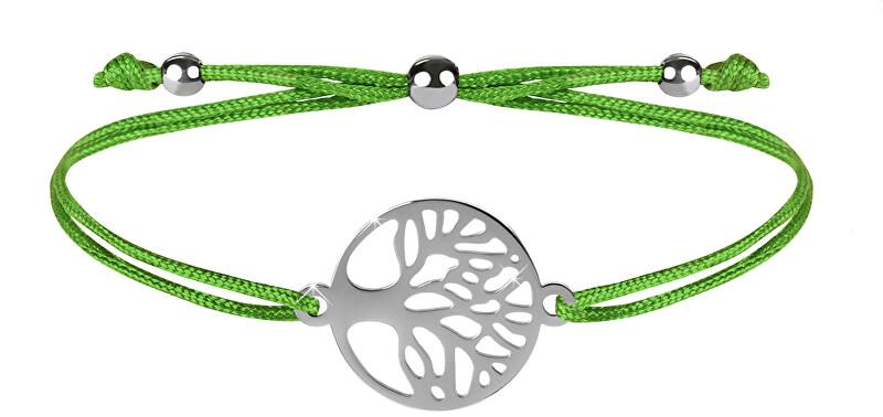 Troli Šňůrkový náramek se stromem života zelená/ocelová TO2574