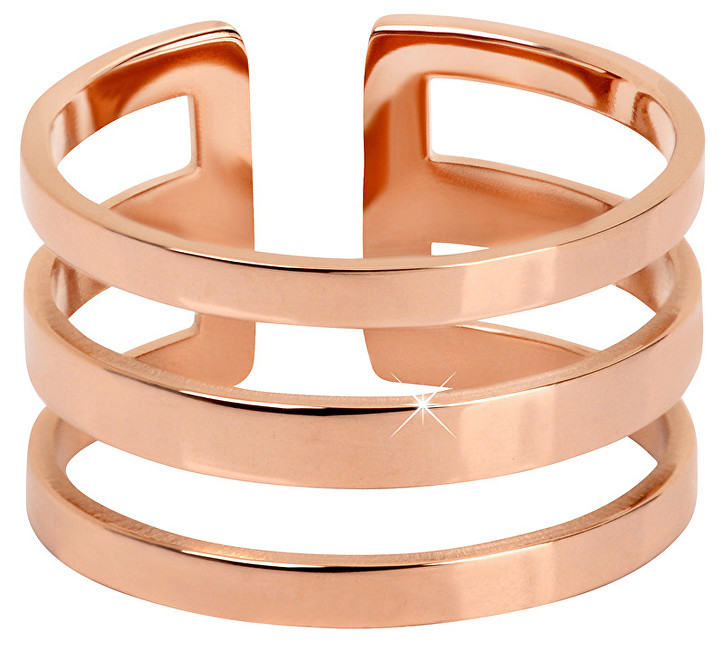 Troli trojitý prsteň z ružovo pozlátenej ocele TO1871