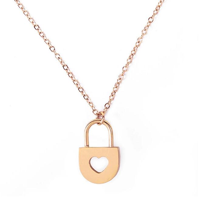 Vuch Romantický oceľový náhrdelník Heart Key Gold