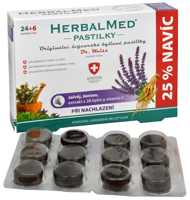 Fotografie HERBALMED Dr.Weiss pastilky Šalvěj, ženšen, vitamin C 24+6 pastilek