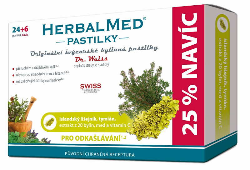 Fotografie HerbalMed pastilky Dr. Weiss pro odkašlávání 24 pastilek + 6 pastilek ZDARMA