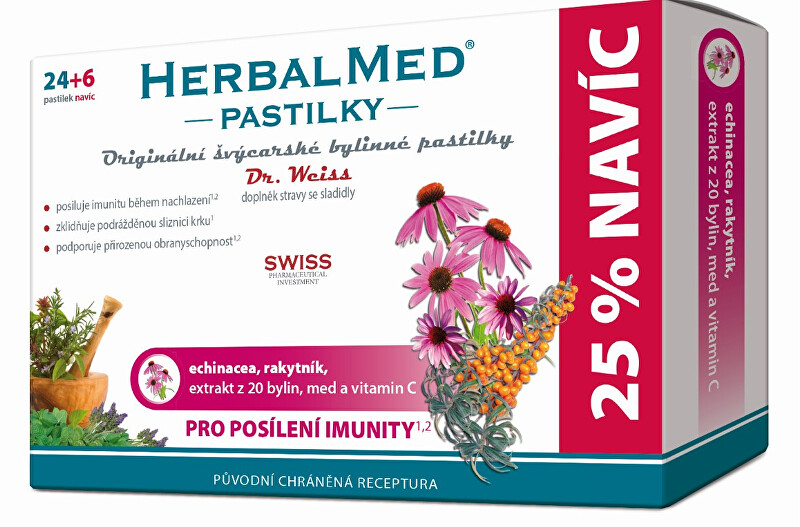 Fotografie HERBALMED Dr.Weiss pastilky Echinacea, rakytník, vitamín C 24+6 pastilek