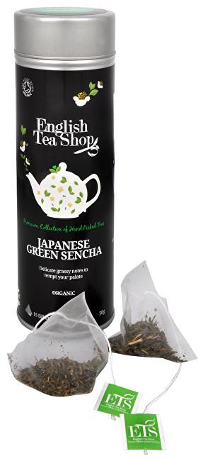 Japonský zelený čaj Sencha - plechovka s 15 bioodbouratelnými pyramidkami