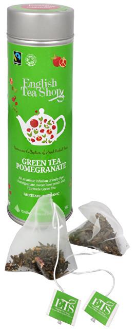 Zobrazit detail výrobku English Tea Shop Zelený čaj s granátovým jablkem 15 pyramidek sypaného čaje v plechovce