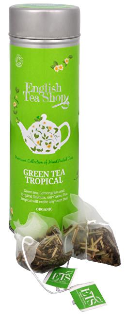 Zobrazit detail výrobku English Tea Shop Zelený čaj s infúzí tropického ovoce 15 pyramidek sypaného čaje v plechovce