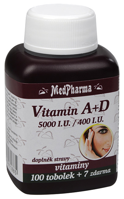 Zobrazit detail výrobku MedPharma Vitamín A + D (5000 I.U./400 I.U.) 100 tob. + 7 tob. ZDARMA