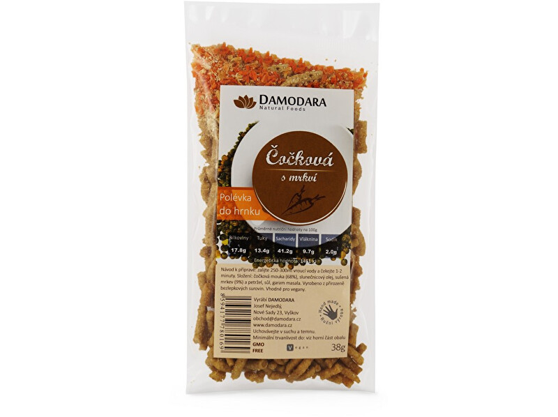 Zobrazit detail výrobku Damodara Instantní polévka do hrnku čočková s mrkví  38g