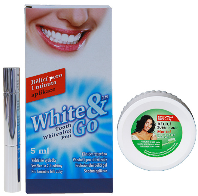 Zobrazit detail výrobku Eva Cosmetics Whitening Pen - bělící zubní pero 5 ml + Bělící zubní pudr Mentol 55 g ZDARMA