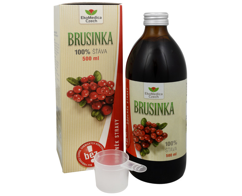 Zobrazit detail výrobku EkoMedica Czech Brusinka - 100% šťáva z brusinky 500 ml
